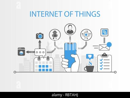 Internet of things concept with hand holding modern bezel free smart phone - Stock Photo