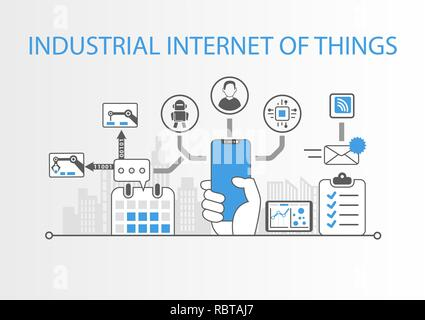 Industrial internet of things concept with hand holding modern bezel free smart phone - Stock Photo