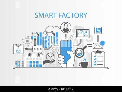 Smart factory concept with hand holding modern bezel free smart phone - Stock Photo
