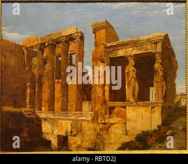 A View of the Erechtheum on the Acropolis, Athens, by Charles Lock Eastlake, 1818, oil on paper on canvas - Middlebury College - Stock Photo