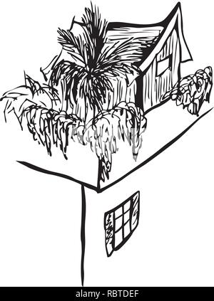 Sketch of wooden hut on top of a stone house by jziprian - Stock Photo