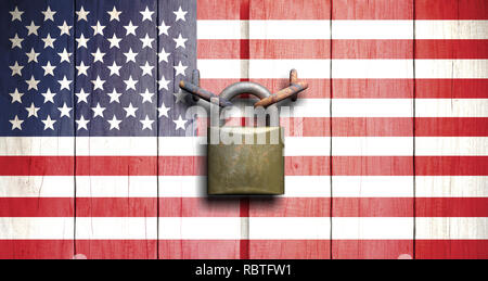 US government shutdown. US flag on wooden door closed with padlock. 3d illustration - Stock Photo