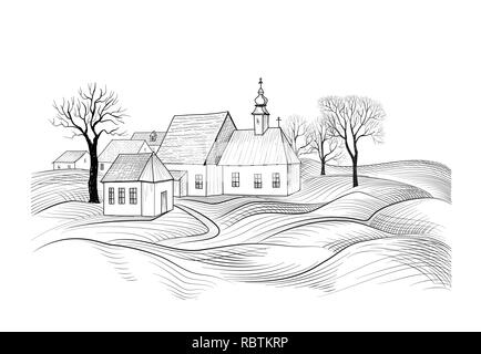 Sketch of house architecture. Country side skyline with perspective of exterior house - Stock Photo