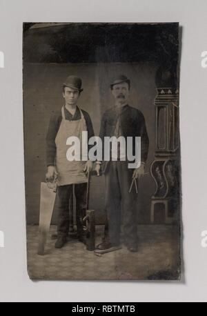 -Two Carpenters with a Handsaw, Wood Plane, Hammer, Compass, and Square- - Stock Photo