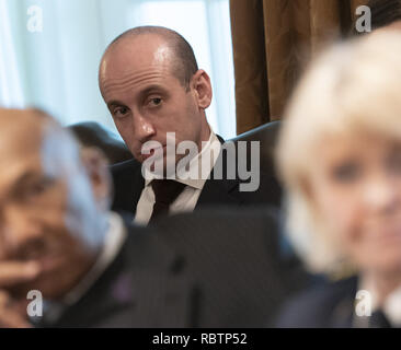 Washington, District of Columbia, USA. 11th Jan, 2019. Senior Advisor for Policy Stephen Miller listens during a roundtable discussion on border security and safe communities, January 11, 2019 at the White House in Washington, DC. Credit: Chris Kleponis/Pool via CNP Credit: Chris Kleponis/CNP/ZUMA Wire/Alamy Live News - Stock Photo