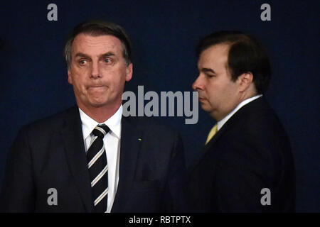 Brasilia, Brazil. 11th Jan, 2019. - President Jair Bolsonaro participates in the inauguration ceremony of the Republic's attorneys-in-fact approved in the 29th Public Contest for appointments to the Attorney General of the Republic. The ceremony was also attended by the Attorney General of the Republic, Raquel Dodge and the president of the Chamber of Deputies, Rodrigo Maia. Photo: Andre Borges/AGIF Credit: AGIF/Alamy Live News - Stock Photo