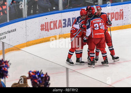 Moscow. 11th Jan, 2019. Players of CSKA celebrate during the 2018-2019 KHL game between CSKA Moscow and Traktor Chelyabinsk in Moscow, Russia on Jan. 11, 2019. CSKA won 6-0. Credit: Evgeny Sinitsyn/Xinhua/Alamy Live News - Stock Photo