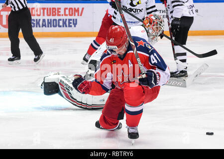 Moscow. 11th Jan, 2019. Greg Scott of CSKA (Front) celebrates during the 2018-2019 KHL game between CSKA Moscow and Traktor Chelyabinsk in Moscow, Russia on Jan. 11, 2019. CSKA won 6-0. Credit: Evgeny Sinitsyn/Xinhua/Alamy Live News - Stock Photo