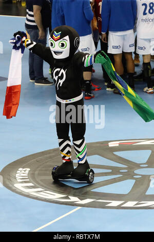Berlin, Germany. 11th Jan, 2018. Mascotte during the IHF Men's World Championship 2019, Group A handball match between Brazil and France on January 11, 2019 at Mercedes-Benz Arena in Berlin, Germany - Photo Laurent Lairys /DPPI Credit: Laurent Lairys/Agence Locevaphotos/Alamy Live News - Stock Photo
