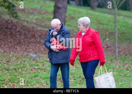 Hastings, East Sussex, UK. 12 Jan, 2019. UK Weather: Winter weather with a slight breeze in the air that is expected to last throughout the day as a few people take a morning stroll around Alexandra park in the heart of Hastings in East Sussex. A man sneezes into a hanky as his partner watches. © Paul Lawrenson 2018, Photo Credit: Paul Lawrenson / Alamy Live News - Stock Photo