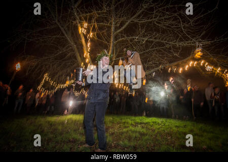 Barley Wood, Wrington, UK. 11th Jan 2018 Light up the winter dark with a fire and the fine tradition of Wassail at the Walled Garden, Wrington Credit: Neil Phillips/Alamy Live News - Stock Photo
