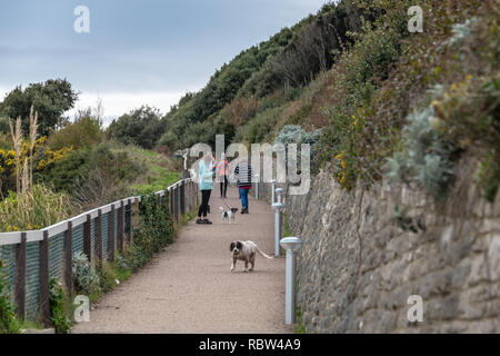 Bournemouth, Dorset, UK. 12th January 2019. People walking to the beach down a steep slope in Bournemouth. Credit: Thomas Faull/Alamy Live News - Stock Photo