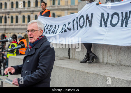 London, UK. 12th January, 2019. John McDonnell MP, Labour , the Shadow Chancellor of the Exchequer speaks to the crowd - Britain is Broken - General Election Now! Started outside the BBC Portland Place. A UK version of the Yellow Vest protests organised  by The People's Assembly Against Austerity. Campaigning against all cuts, not less or slower cuts. No privatisation. No racist scapegoating. No evictions. Credit: Guy Bell/Alamy Live News - Stock Photo