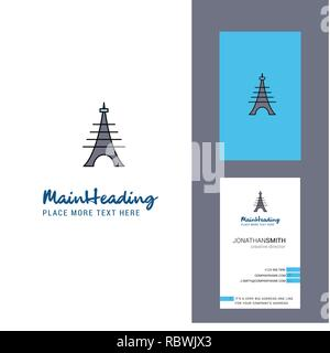 Eiffel tower Creative Logo and business card. vertical Design Vector - Stock Photo