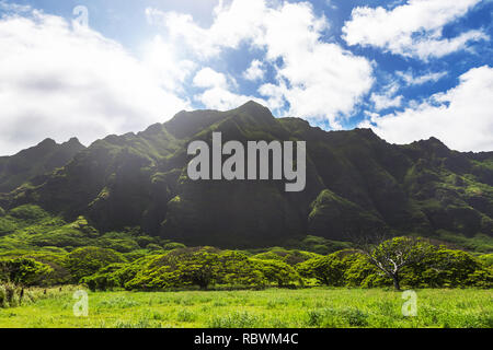 Kualoa mountain range view, famous filming location on Oahu island, Hawaii - Stock Photo