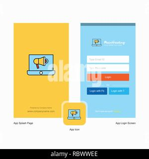 Company Music on Laptop  Splash Screen and Login Page design with Logo template. Mobile Online Business Template - Stock Photo