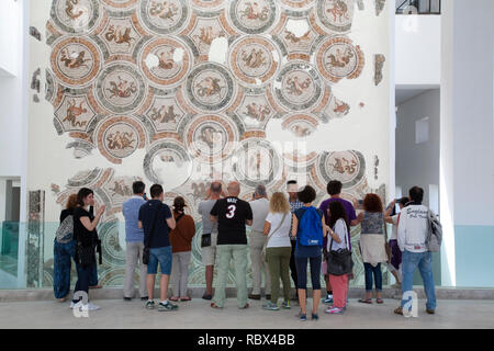Mosaic, The triumph of Neptune, Bardo National Museum, Tunis, Tunisia, Africa - Stock Photo