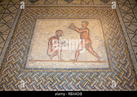 Mosaic of boxers, Bardo National Museum, Tunis, Tunisia, Africa - Stock Photo