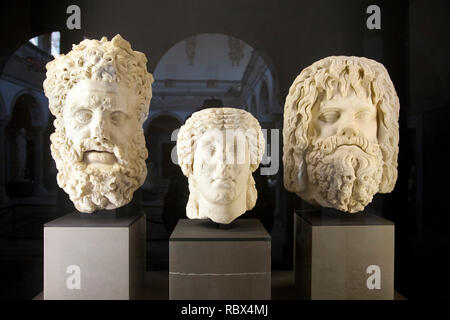 Portraits coming from Gightis with Hercules (left) and Jupiter Serapis (right), Bardo National Museum, Tunis, Tunisia, Africa - Stock Photo