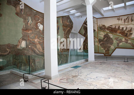 Museum hall Roman mosaics, Bardo National Museum, Tunis, Tunisia, Africa - Stock Photo