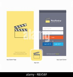 Company Movie clip Splash Screen and Login Page design with Logo template. Mobile Online Business Template - Stock Photo