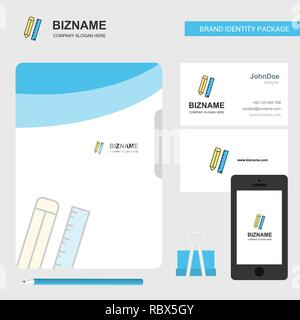 Pencil and scale Business Logo, File Cover Visiting Card and Mobile App Design. Vector Illustration - Stock Photo