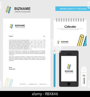 Pencil and scale Business Letterhead, Calendar 2019 and Mobile app design vector template - Stock Photo