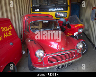 Vintage Royal mail delivery vehicles on display at the Nene Valley Railway part of the collection of TPO (travelling post office) equipment - Stock Photo
