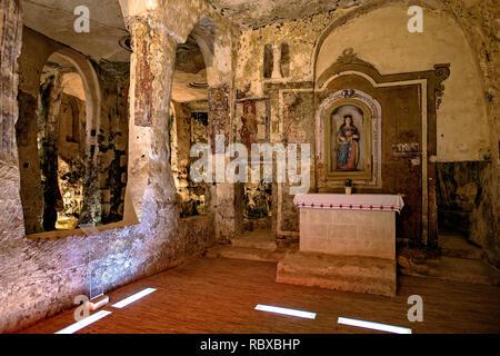 Italy Basilicata Matera Sasso Caveoso - Church Santa Maria Alle Malve fresco Santa Lucia eand altar Santa Lucia XVI - Stock Photo