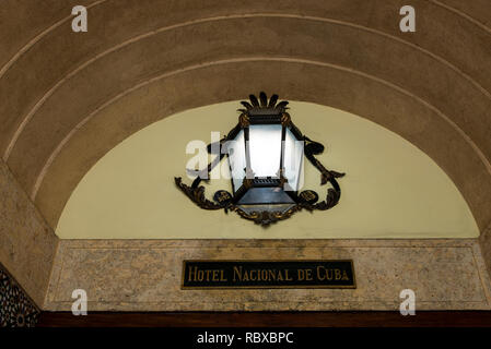 The historic Hotel Nacional de Cuba located on the Malecon in the middle of Vedado, Havana, Cuba. La Habana, Cuba. Photo taken on 1st of November 2018 - Stock Photo