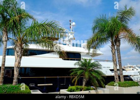 Large motor yacht moored in Puerto Santa Pola, Alicante. Spain - Stock Photo