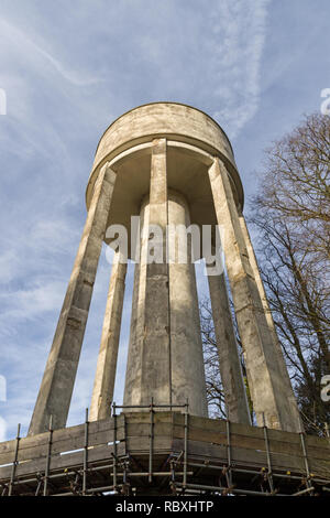 Water Tower in the village of Roade, Northamptonshire, UK; view from the base looking up. - Stock Photo