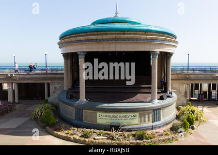 Eastbourne bandstand in beautiful spring weather East Sussex uk - Stock Photo