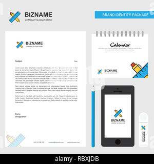 Scale and pen  Business Letterhead, Calendar 2019 and Mobile app design vector template - Stock Photo
