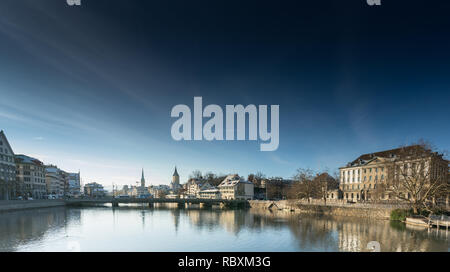 Zurich, ZH / Switzerland - January 4, 2019: cityscape view of the buildings and downtoen Zurich in the heart of the old part of the city - Stock Photo