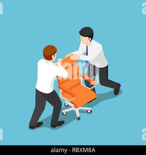 Flat 3d isometric two business people fighting over for ceo chair. Business competition concept. - Stock Photo