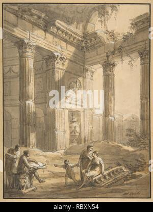 http://www.metmuseum.org/art/collection/search/382175 Artist: Antonio Zucchi, Italian, Venice 1726?1796 Rome, Artist Among Ruins, 18th century, Pen and brown ink, brush and brown wash, highlighted with white gouache, sheet: 12 x 9 1/16 in. (30.5 x 23 cm). The Metropolitan Museum of Art, New York. Harry G. Sperling Fund, 2008 (2008.148) - Stock Photo
