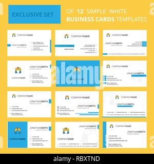 Set of 12 Curtain Creative Busienss Card Template. Editable Creative logo and Visiting card background - Stock Photo