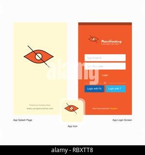 Company Not seen  Splash Screen and Login Page design with Logo template. Mobile Online Business Template - Stock Photo