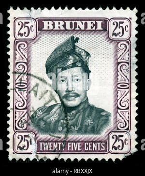 Postage stamp from Brunei Darussalam in the Sultan Saifuddin series issued in 1952 - Stock Photo