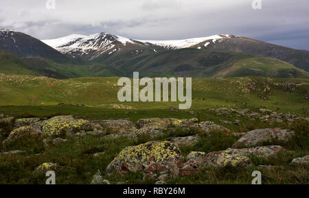 Beautiful mountains view. Amazing mountain landscape, Rainy clouds. Storm Clouds over the Mountains. Beautiful country Armenia - Stock Photo