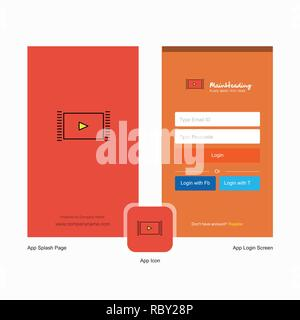 Company Video  Splash Screen and Login Page design with Logo template. Mobile Online Business Template - Stock Photo