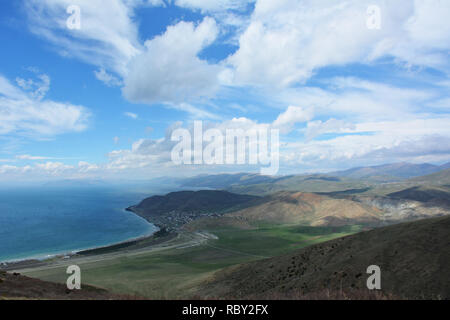 Great view of the lake.Paradise lake  with azure water.  Amazing place in the Beauty World. Beautiful view from mountains. Armenia - Stock Photo