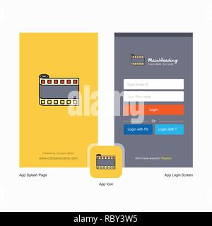 Company Film roll Splash Screen and Login Page design with Logo template. Mobile Online Business Template - Stock Photo