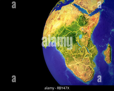 Satellite view of Africa from space with country borders. Very detailed planet surface and blue oceans. 3D illustration. Elements of this image furnis - Stock Photo