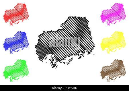 Hiroshima Prefecture (Administrative divisions of Japan, Prefectures of Japan) map vector illustration, scribble sketch Hiroshima map - Stock Photo