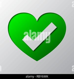 Heart with check mark is cut from the paper. Vector illustration. Paper art of the green Ok symbol, isolated. - Stock Photo
