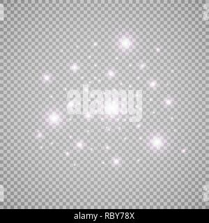 Set of white glowing lights effects isolated on transparent background. Sun flash with rays and spotlight. Glow light effect. Star burst with sparkles. - Stock Photo