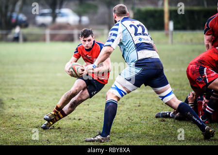 BLAINA, WALES, UK -18 FEBRUARY 2017: Blaina vs Machen Rugby Game, WRU Championship league match at Cwmcellyn Park - Stock Photo