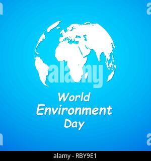 World Environment Day banner. Vector illustration. Globe with lettering on bright blue background. - Stock Photo
